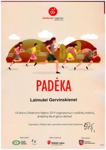 PADĖKA Solidarumo bėgimas 2019m.  L .Gervinskienei