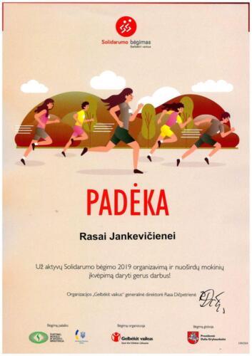 PADĖKA Solidarumo bėgimas 2019m. R. Jankevičienei