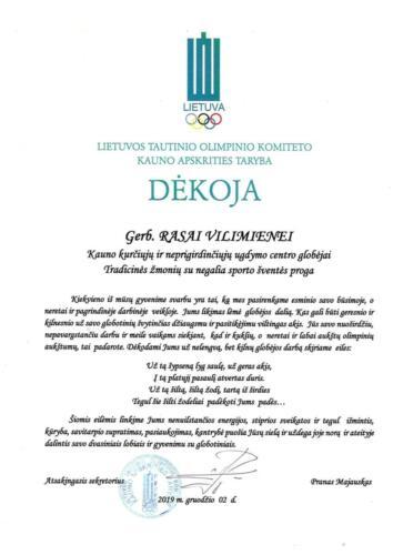 PADĖKA  R. Vilimienei Tradicinės žmonių su negalia sporto šventės proga 2019-12-02